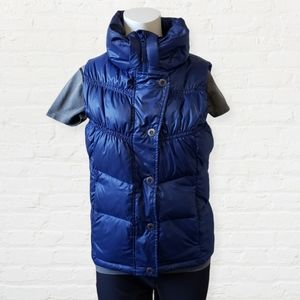 PrAna Milly down filled blue ruched zip snap vest